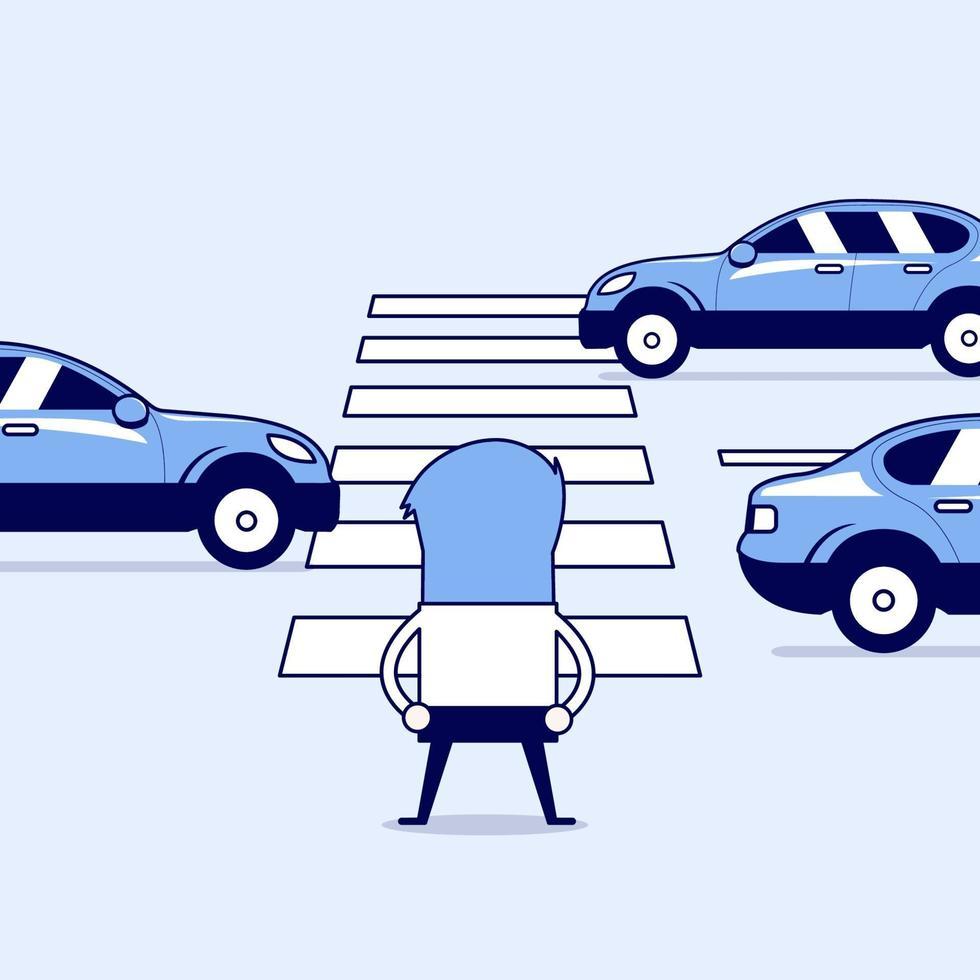 affärsman som väntar på att korsa vägen vid övergångsstället. tecknad karaktär tunn linje stil vektor. vektor