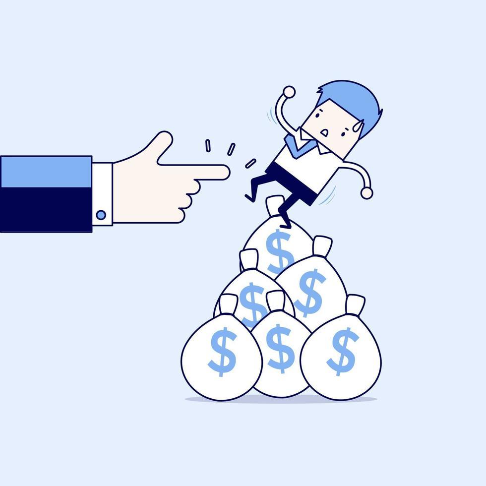 affärsman som faller från pengarpåse. tecknad karaktär tunn linje stil vektor. vektor