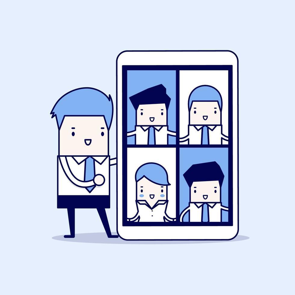 affärsman med videokonferens på minnestavlan. virtuella online-möten. tecknad karaktär tunn linje stil vektor. vektor