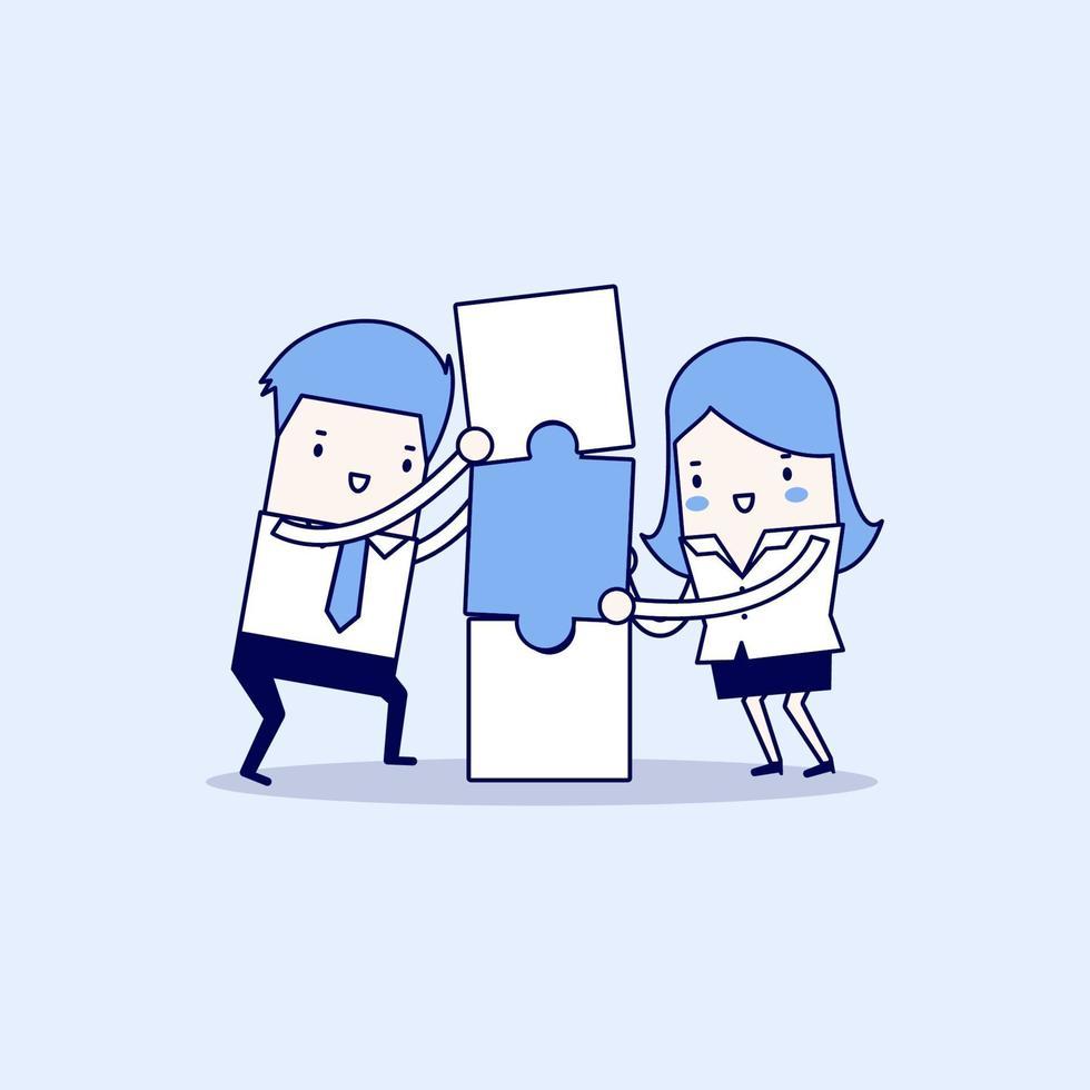 Geschäftsmann und Geschäftsfrau mit Puzzle-Box. Geschäfts- und Partnerschaftskonzept. Karikatur Charakter dünne Linie Stil Vektor. vektor