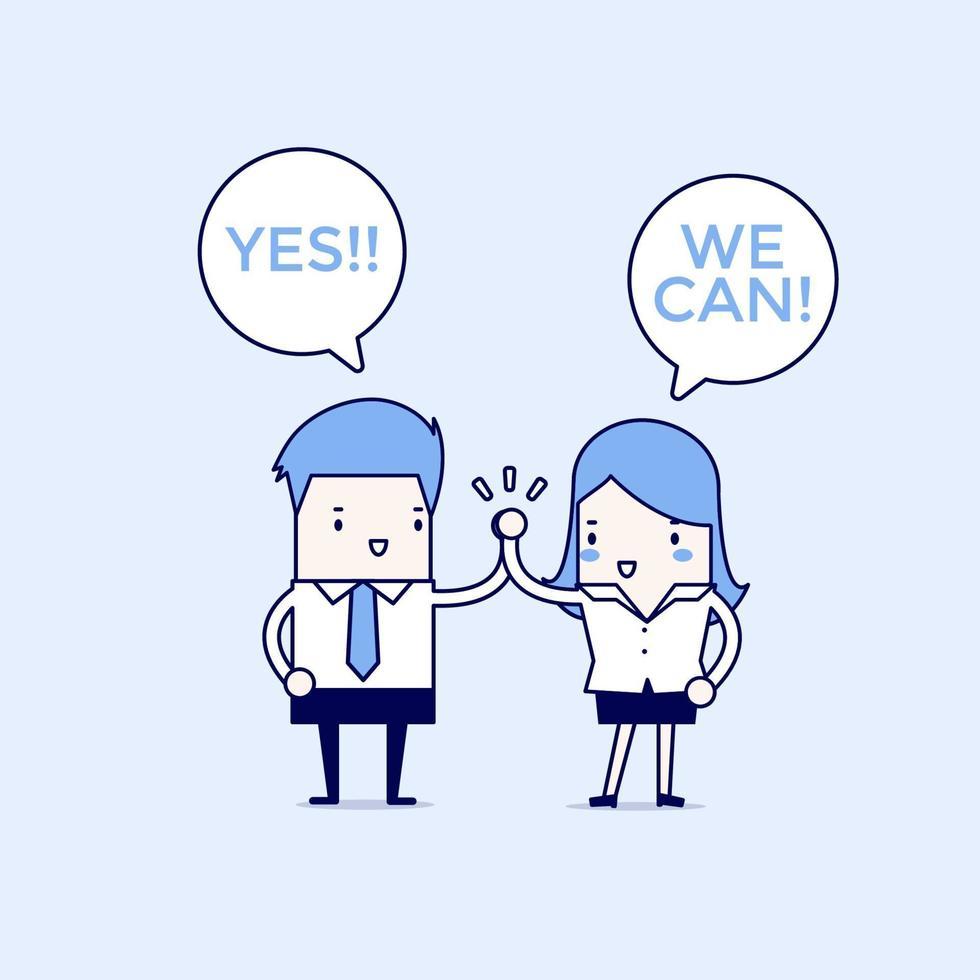 affärsman och affärskvinna som ger varandra en high five, ja vi kan. tecknad karaktär tunn linje stil vektor. vektor