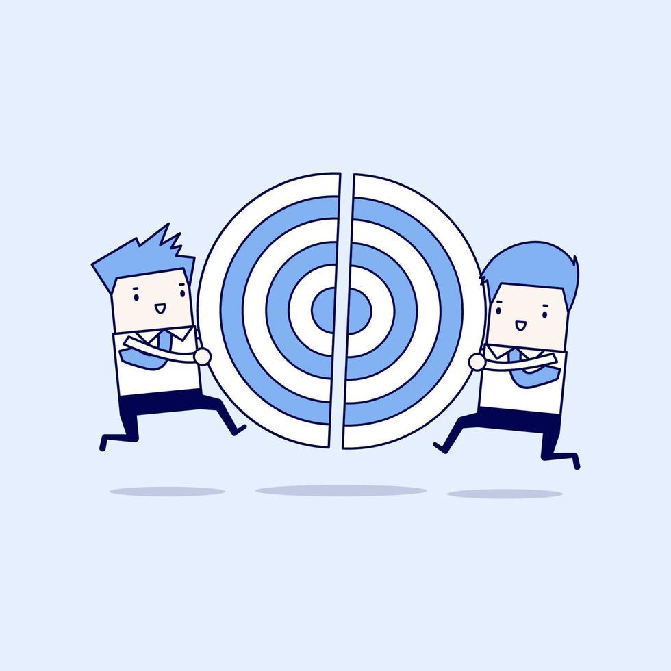 två affärsmän springer och skjuter en bit av målet. tecknad karaktär tunn linje stil vektor. vektor