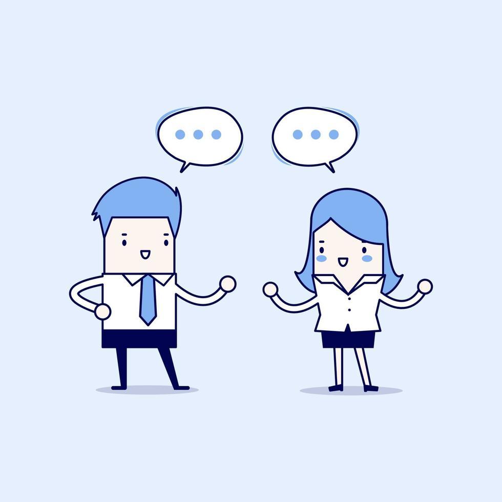 affärsman och affärskvinna som diskuterar om affärsstrategi på kontoret. arbeta tillsammans och lagarbete. tecknad karaktär tunn linje stil vektor. vektor