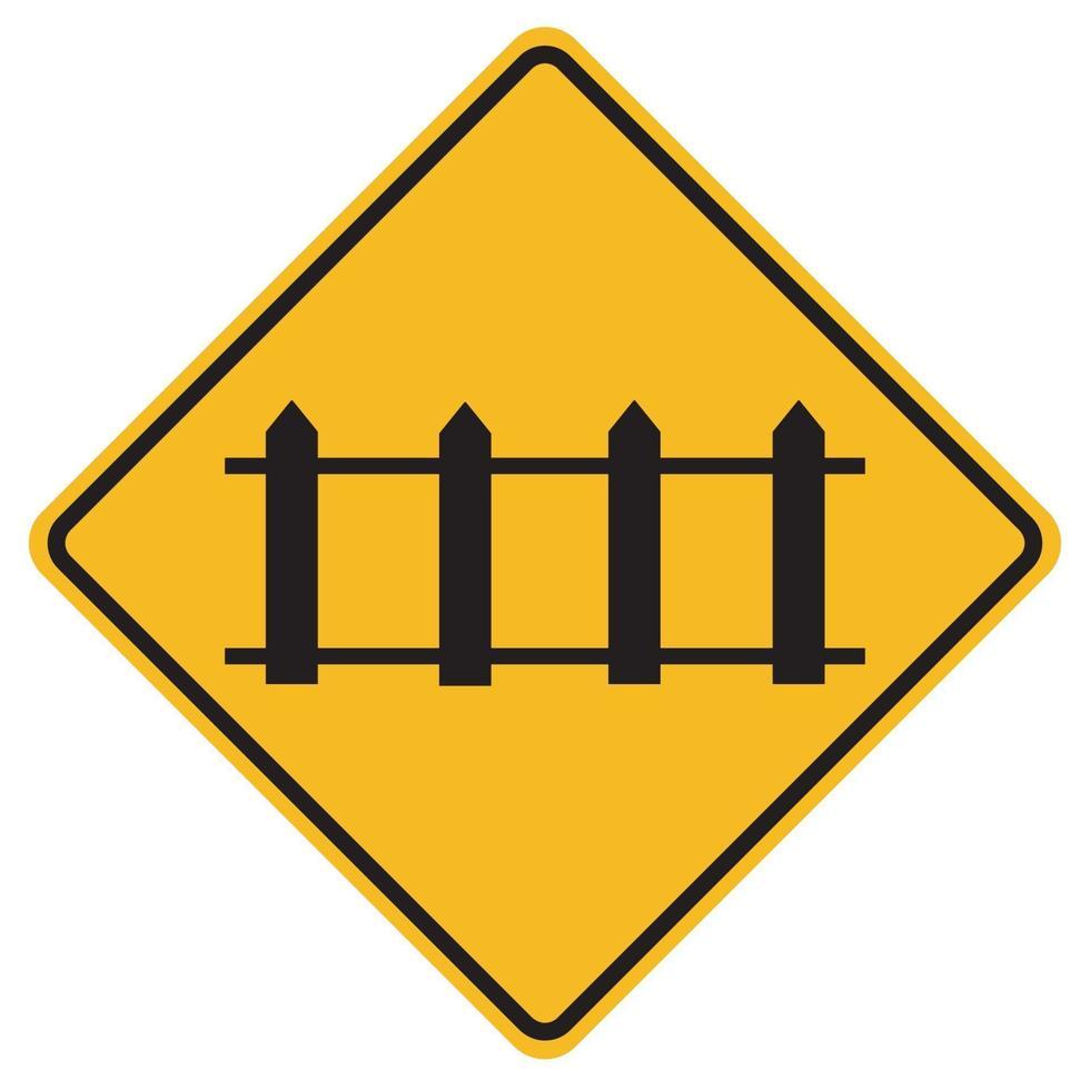 varningsskyltar järnvägsövergång med automatiska grindar på vit bakgrund vektor