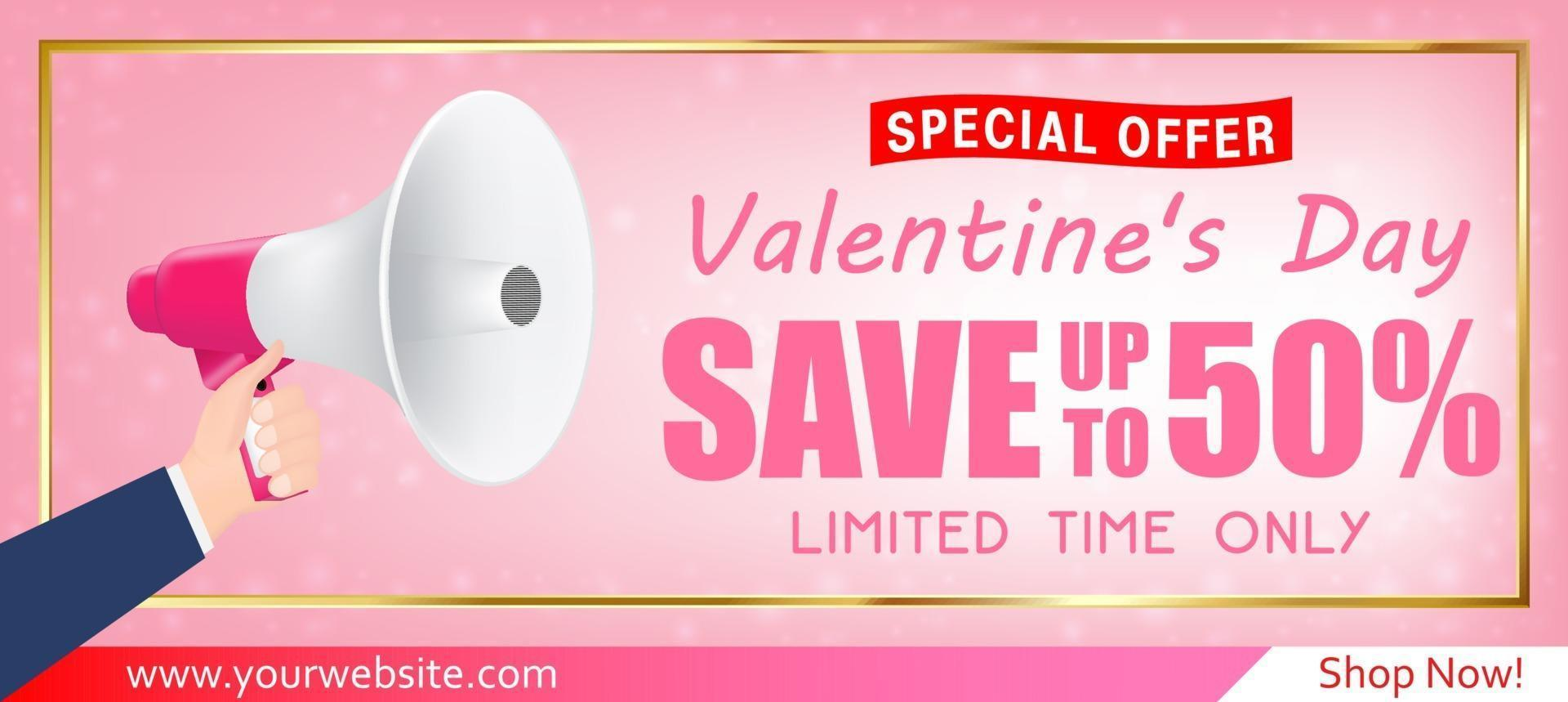Alla hjärtans dag shopping försäljning gratulationskort banner vektor