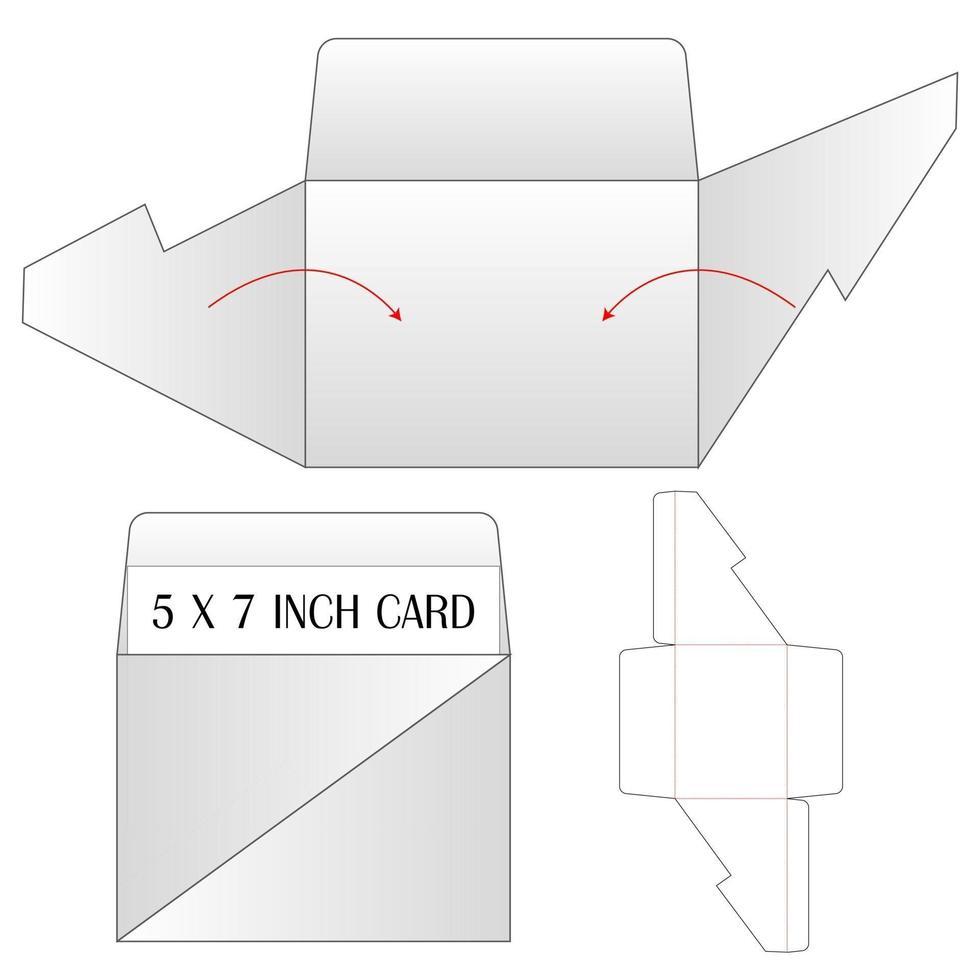 inbjudan kuvert förpackning stansad mall design. 3d mock-up vektor