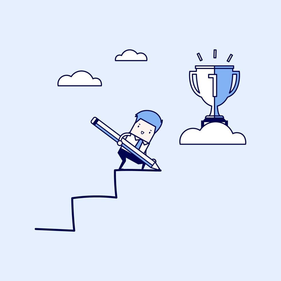 affärsman använder penna för att skapa sin egen trappa till framgång. tecknad karaktär tunn linje stil vektor. vektor