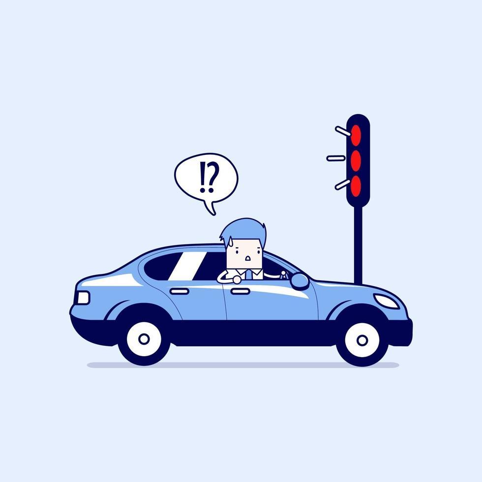affärsman som förvirrar med rött trafikljus. tecknad karaktär tunn linje stil vektor. vektor