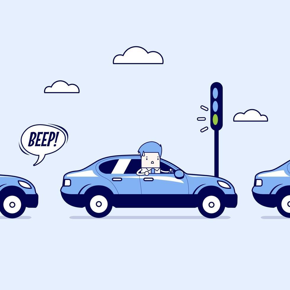 affärsman på vägen med trafikstockning, grönt trafikljus, tutar ett horn. tecknad karaktär tunn linje stil vektor. vektor