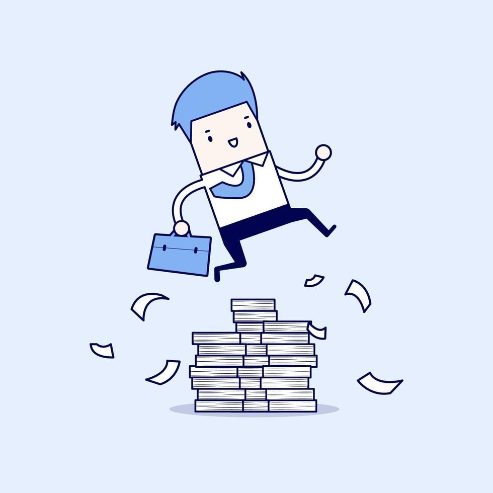 affärsman eller chef hoppar över hinder. stor bunt med dokument. tecknad karaktär tunn linje stil vektor. vektor