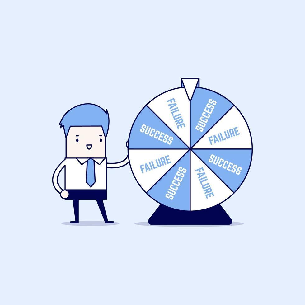 Geschäftsmann und Ergebnis des Glücksrades. Karikatur Charakter dünne Linie Stil Vektor. vektor