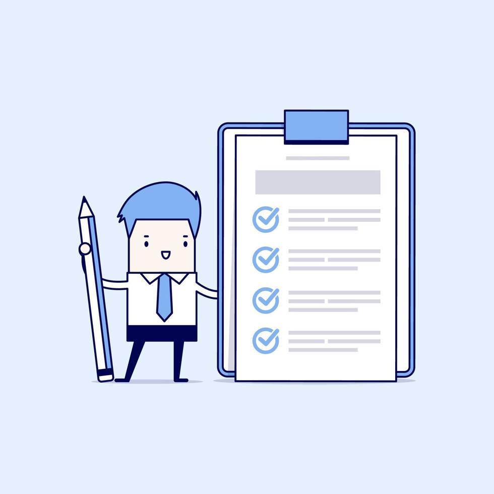 affärsman som håller en penna som tittar på en färdig checklista på Urklipp. tecknad karaktär tunn linje stil vektor. vektor