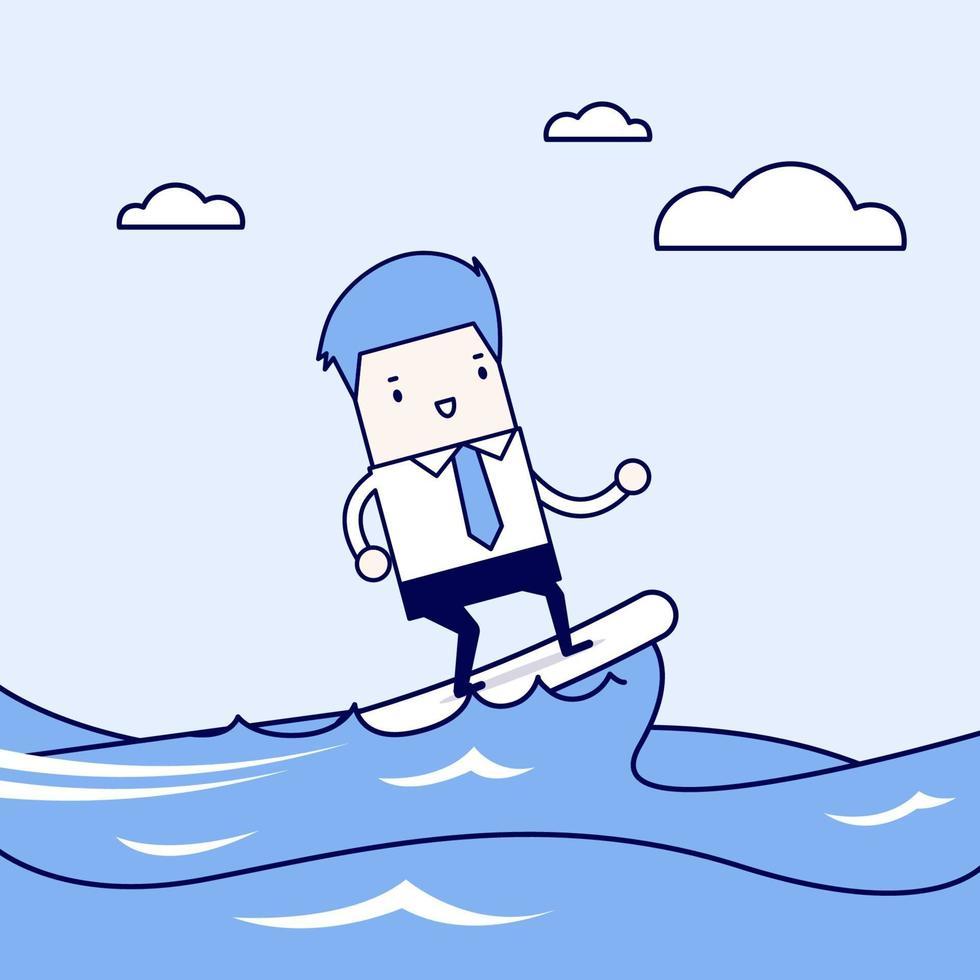 affärsman som surfar på vågen. tecknad karaktär tunn linje stil vektor. vektor