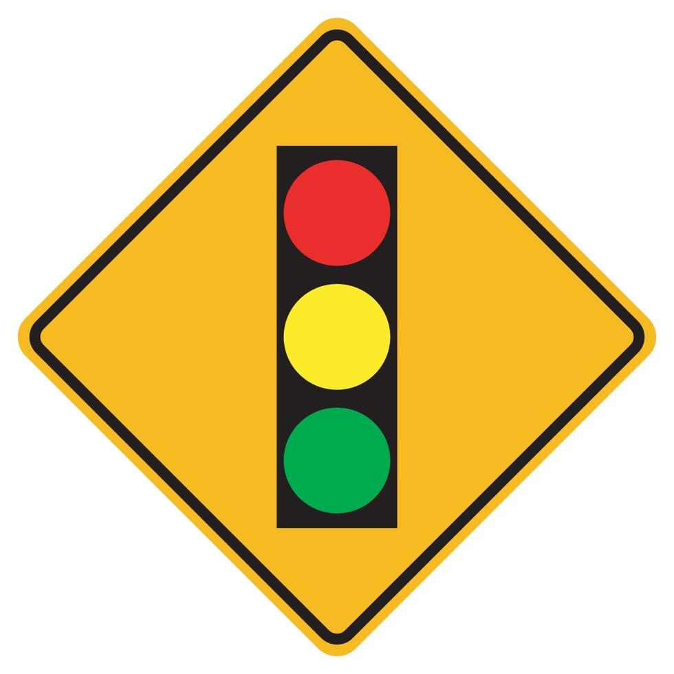 varningstecken trafikljus framåt på vit bakgrund vektor