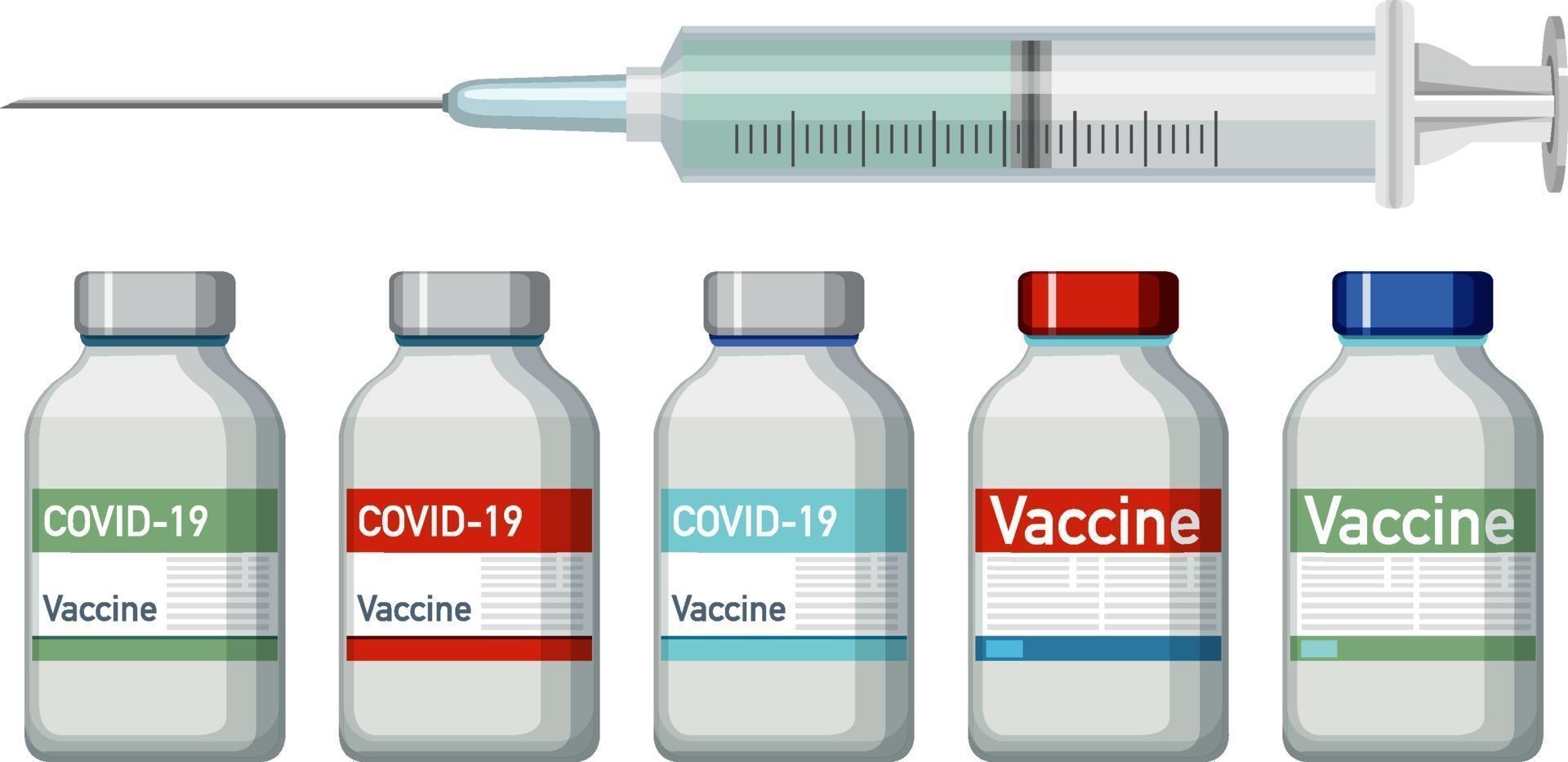 vaccinflaskor och spruta på vit bakgrund vektor
