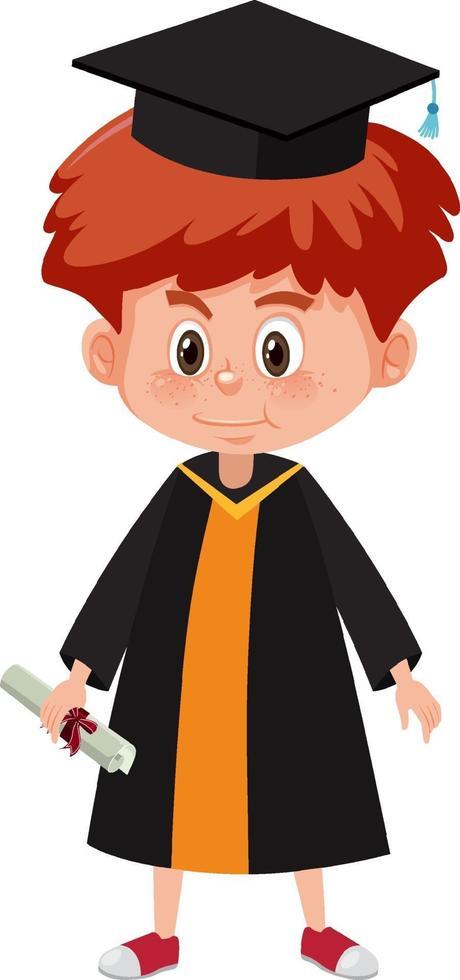 tecknad karaktär av en pojke som bär examensdräkt vektor