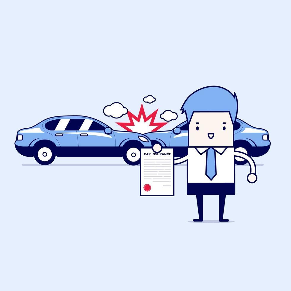 Kfz-Versicherung im Service-Center. Geschäftsmann zeigt das Dokument des Autoschutzes. Karikatur Charakter dünne Linie Stil Vektor. vektor