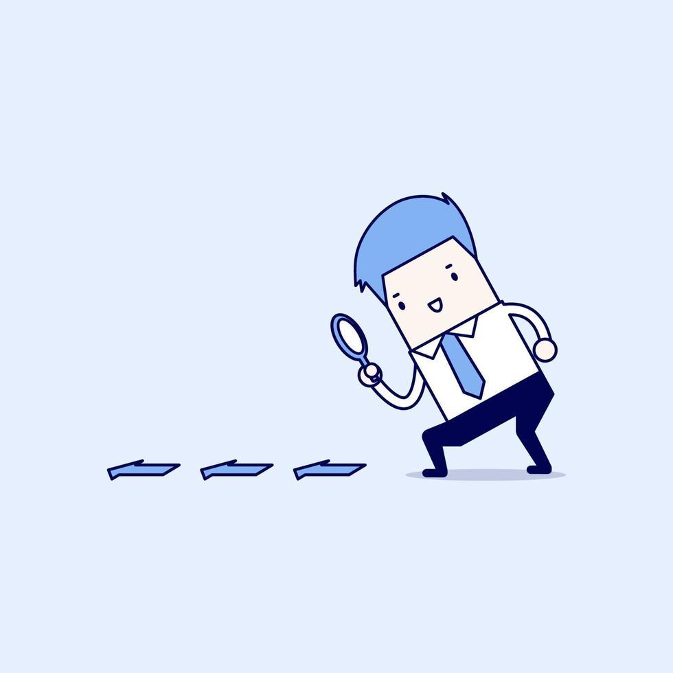affärsman som söker genom ett förstoringsglas. sökning, detaljer, ledtrådskoncept. tecknad karaktär tunn linje stil vektor. vektor