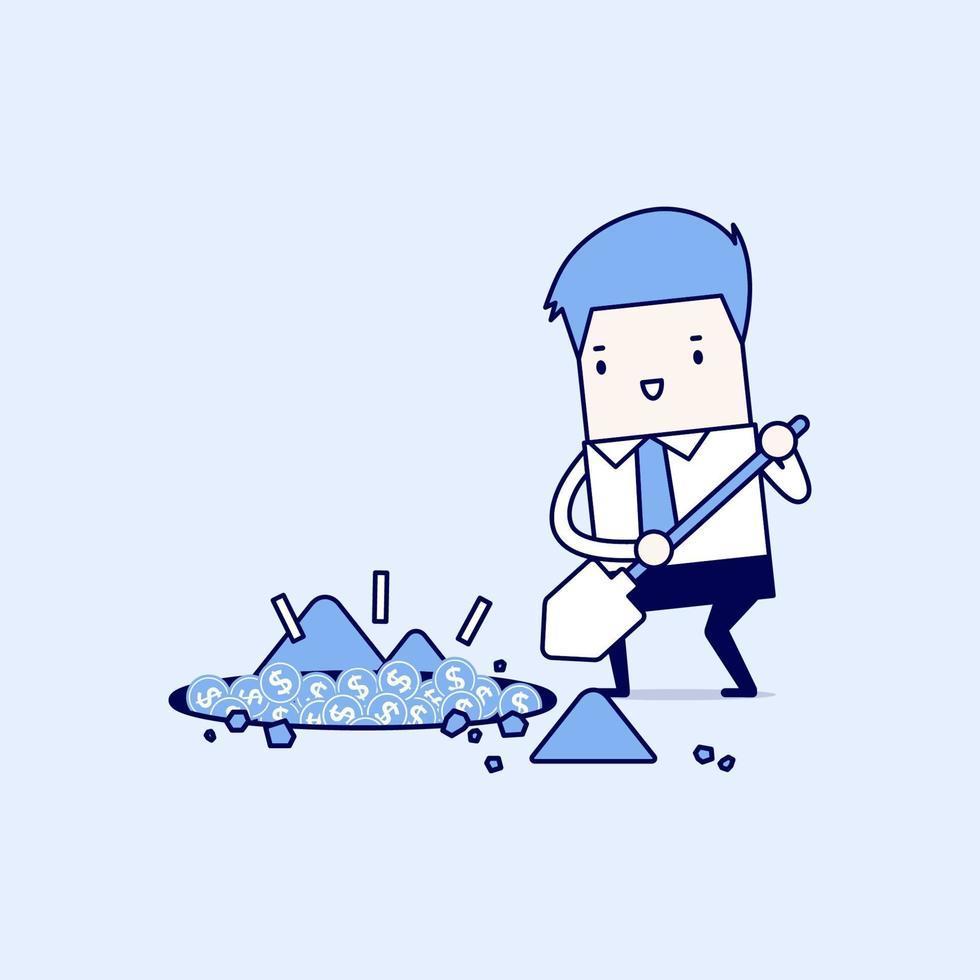 Geschäftsmann gräbt einen Boden, um Schatzmünze zu finden. Karikatur Charakter dünne Linie Stil Vektor. vektor