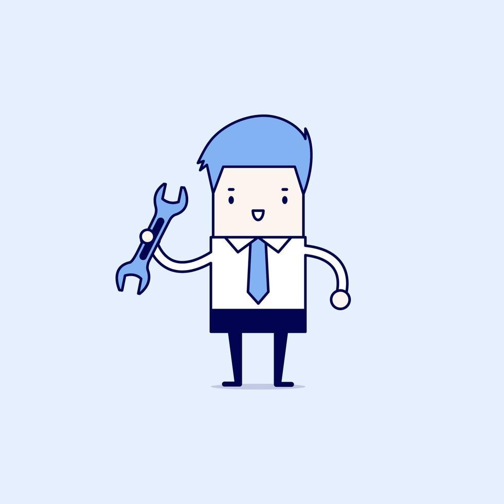 Geschäftsmann mit einem Werkzeug. Karikatur Charakter dünne Linie Stil Vektor. vektor