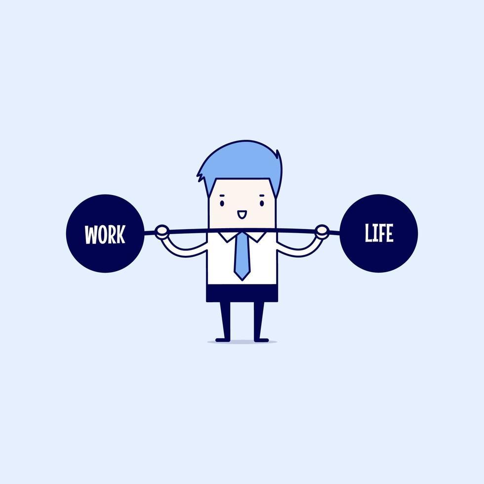 affärsman som håller balans mellan arbete och liv. tecknad karaktär tunn linje stil vektor. vektor