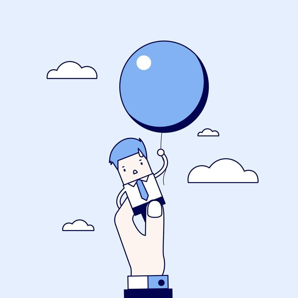 affärsman som flyger iväg med ballong men hindras av affärsmanens stora hand. tecknad karaktär tunn linje stil vektor. vektor