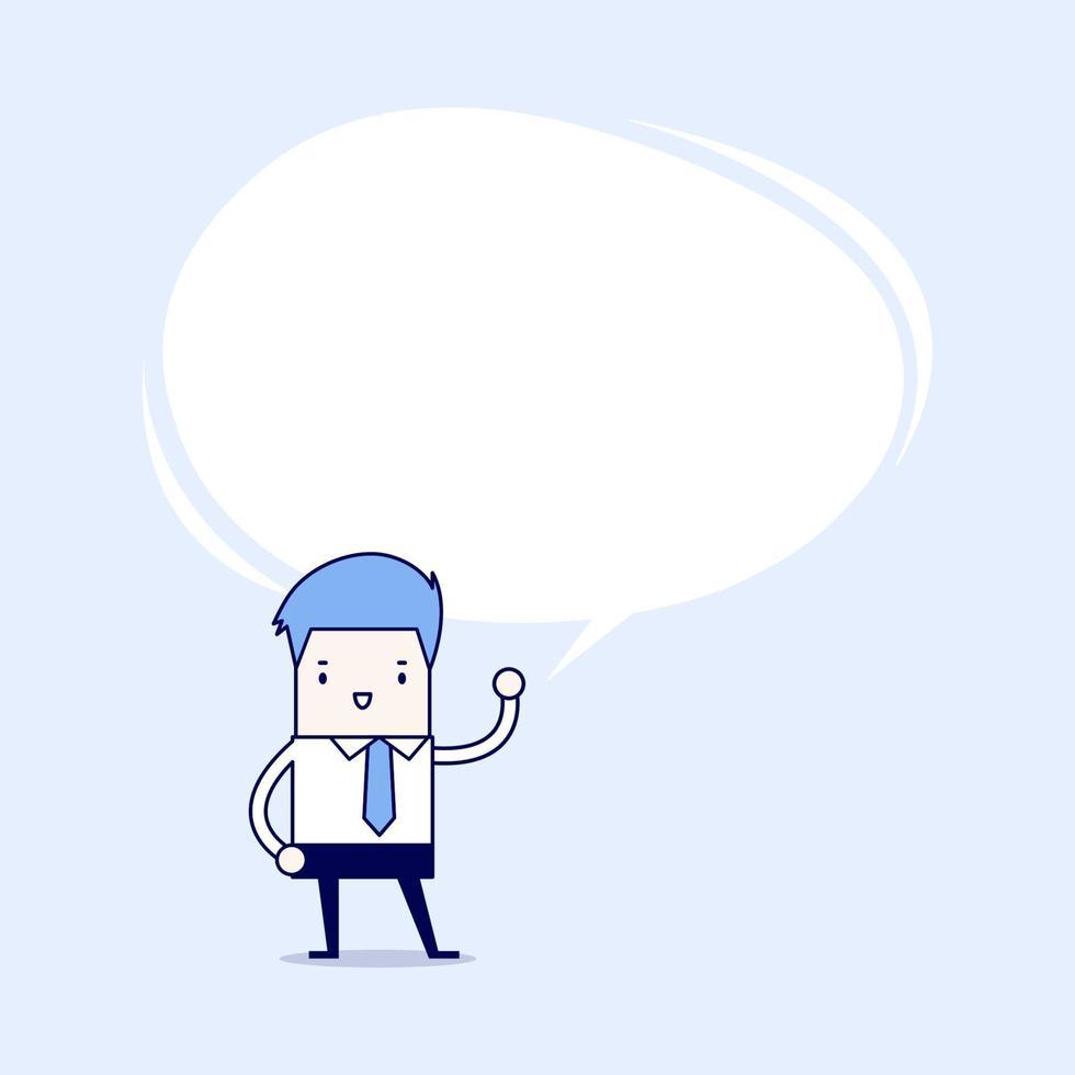 Geschäftsmann präsentierte seine Idee mit Sprechblase. Karikatur Charakter dünne Linie Stil Vektor. vektor