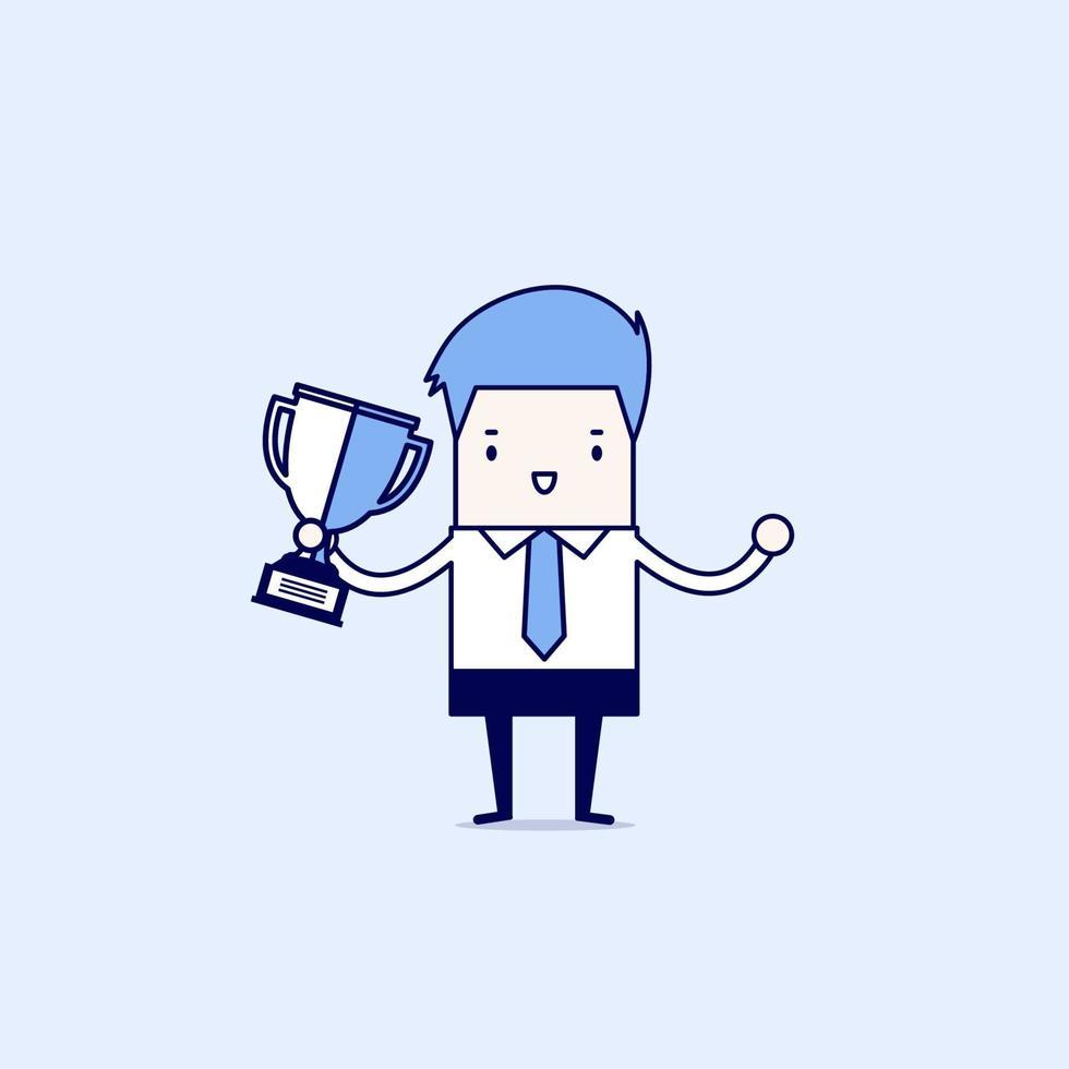 affärsman som håller vinnande trofé. tecknad karaktär tunn linje stil vektor. vektor