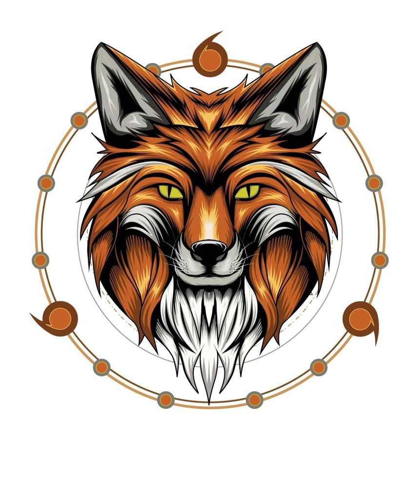 rävhuvudillustration med helig geometri bakgrund vektor