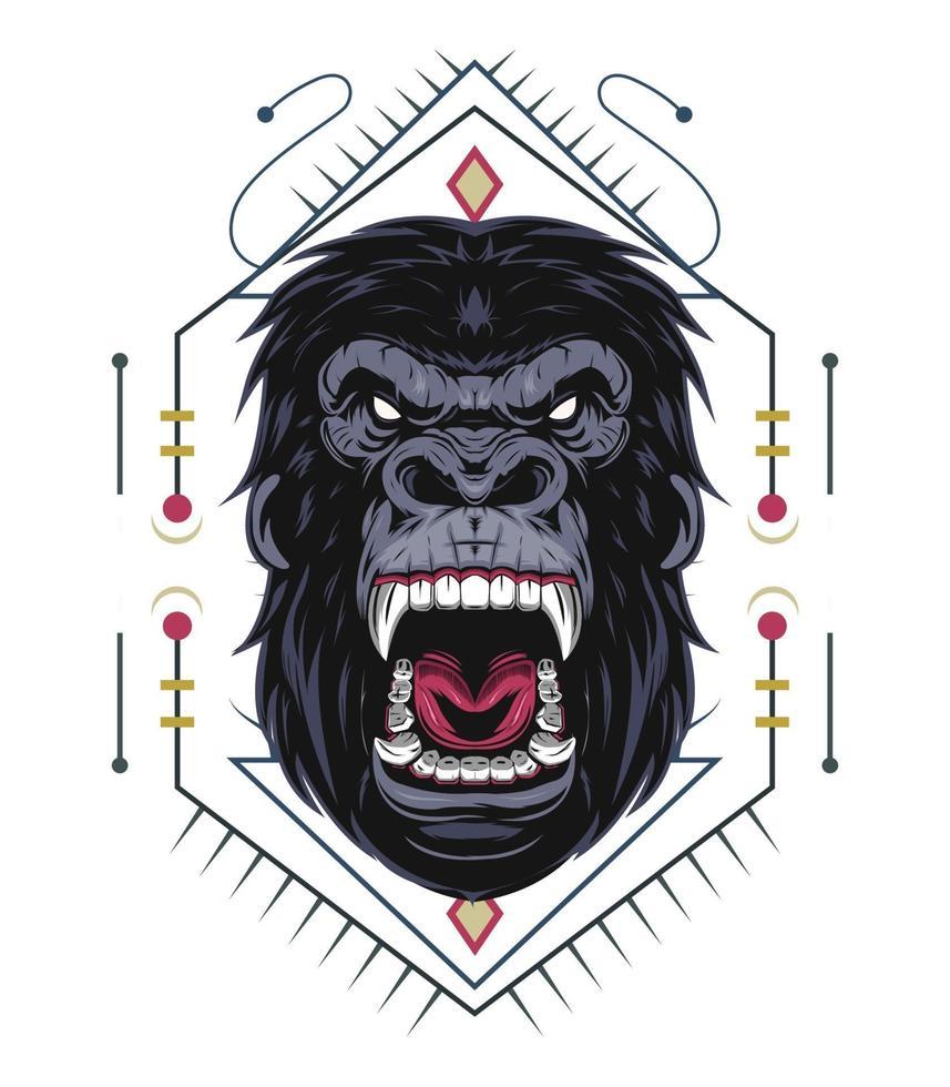 arg gorillaillustration med prydnad vektor