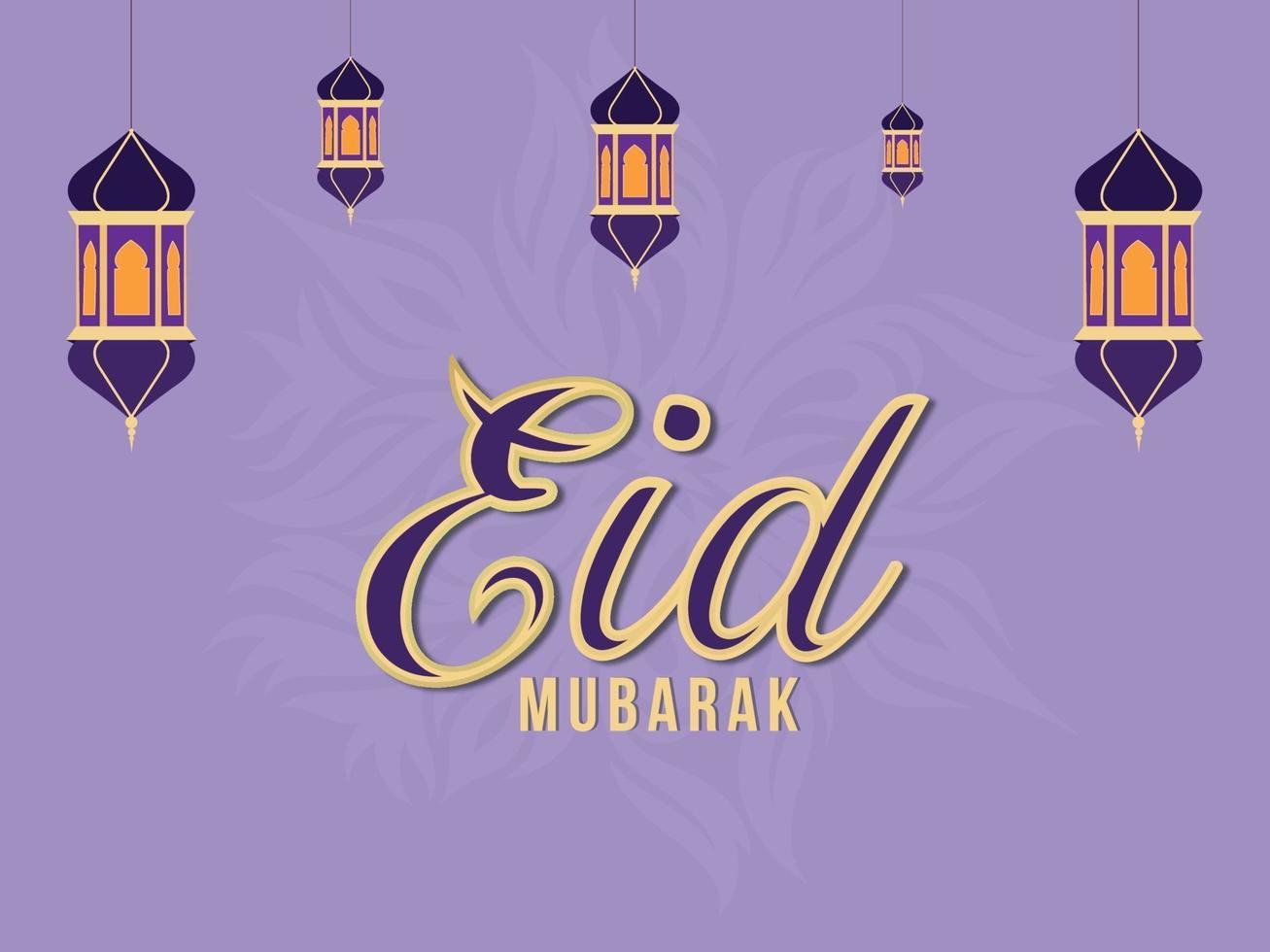 islamisk festival eid mubarak firande gratulationskort med platt lykta vektor