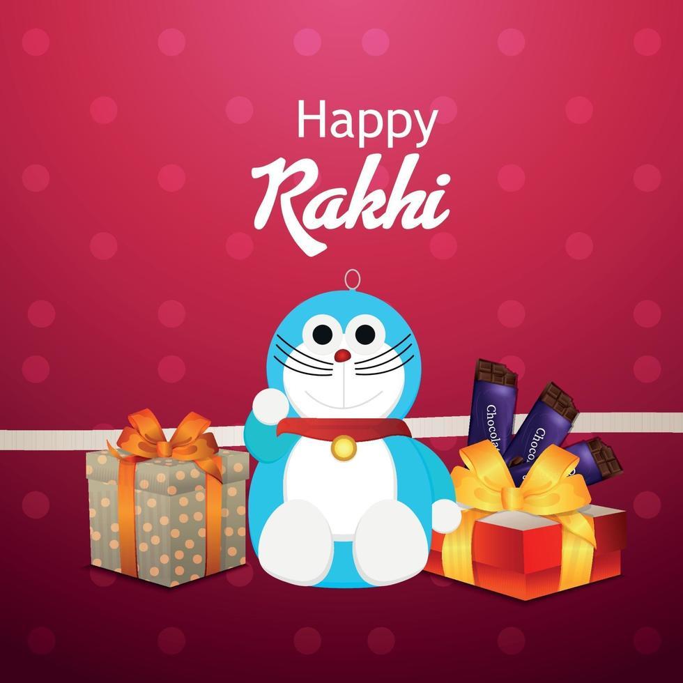 glad rakhi firande inbjudningskort med barn kreativa vektor