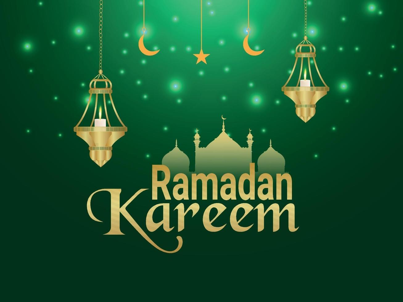 ramadan kareem islamisk festival med gyllene lyktor och månen på kreativ bakgrund vektor