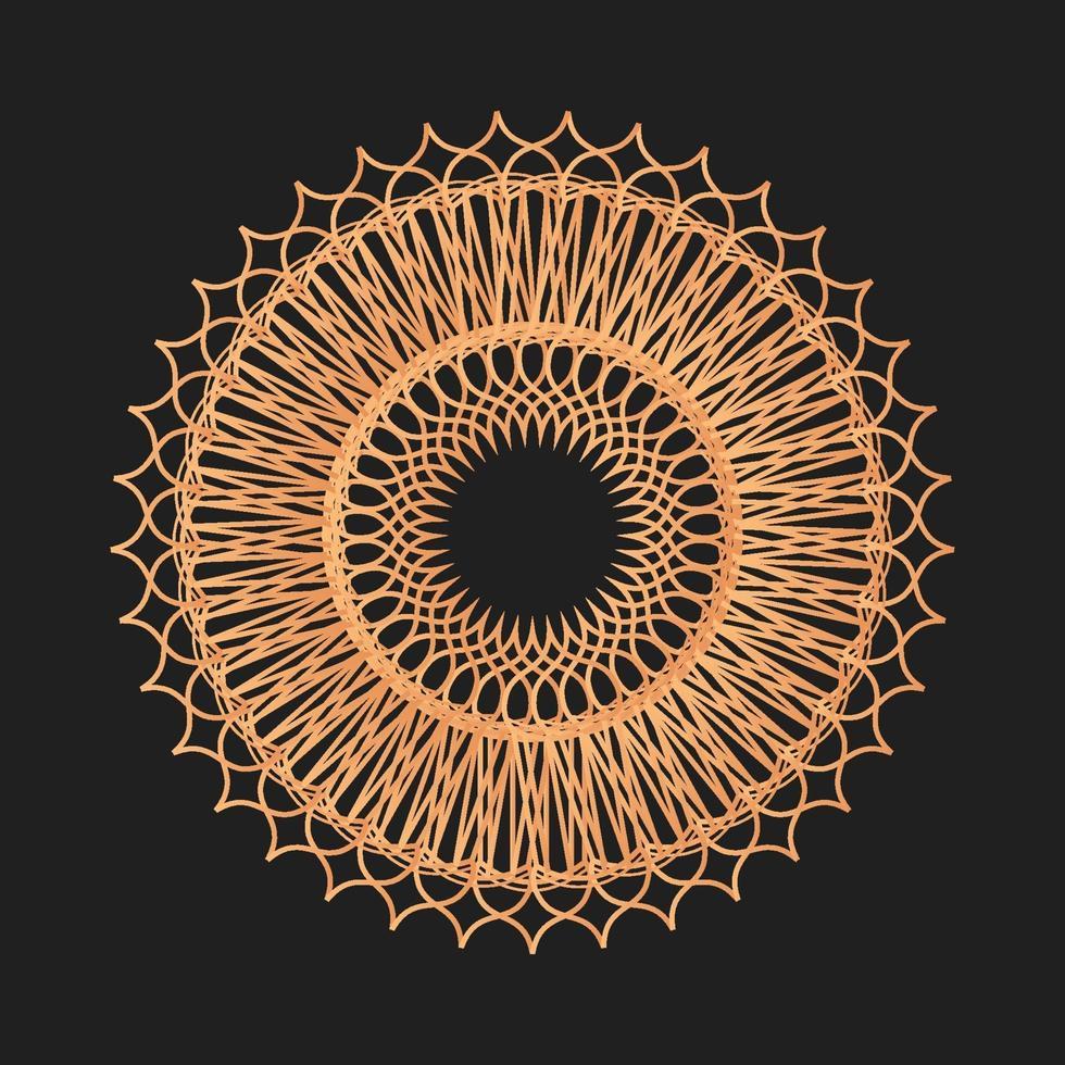 cirkel geometrisk prydnad vektor grafisk guldfärg
