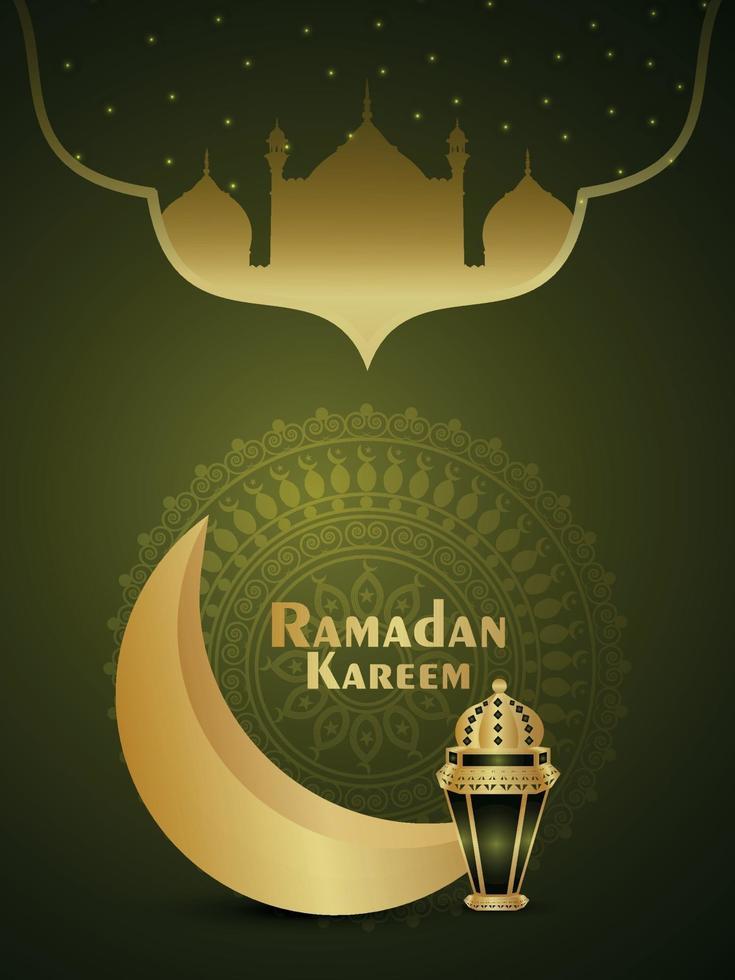 realistische Vektorillustration des Ramadan-Kareem-Einladungs-Parteiflyers mit goldenem Mond und Laterne vektor