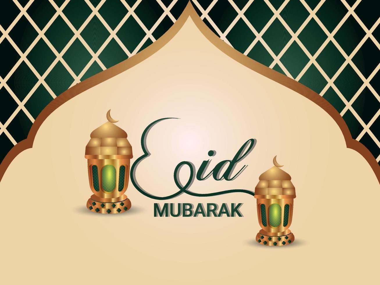 islamisk festival eid mubarak firande gratulationskort med platta lyktor vektor