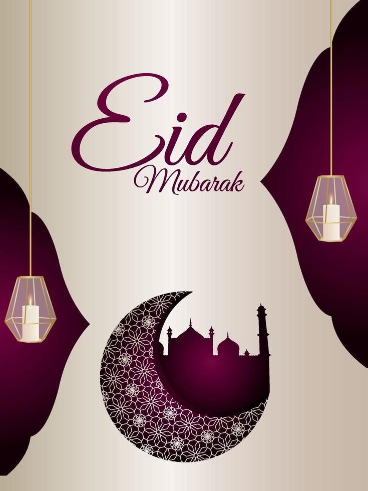 eid mubarak firande part flyer med arabiska mönster månen och lykta vektor