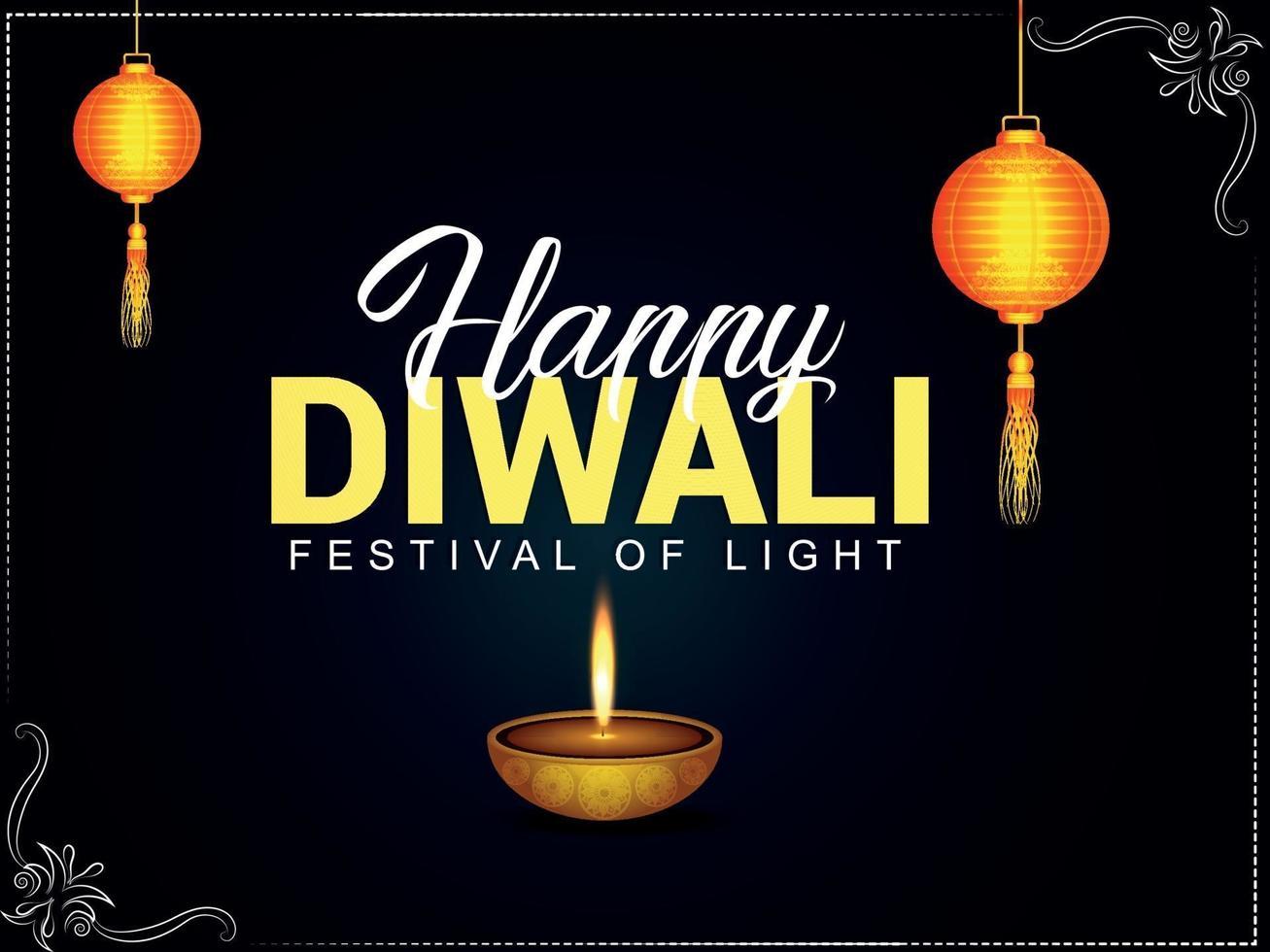 lycklig diwali festival av ljus inbjudningskort vektor