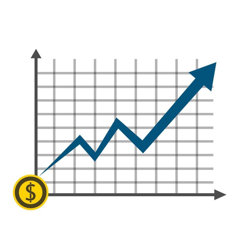 Wachstumsdiagramm des Geschäftsdollar-Münzkonzeptes auf Grafikhintergrund vektor
