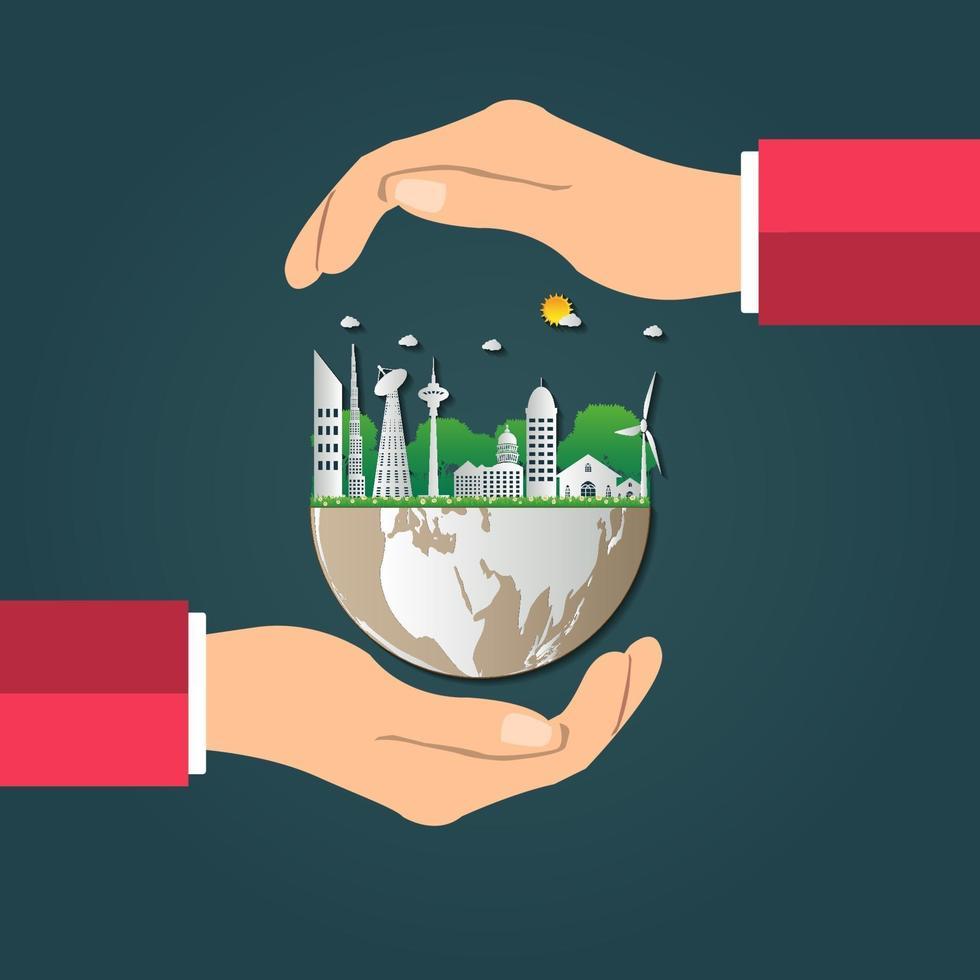 världen i dina händer ekologikoncept vektor