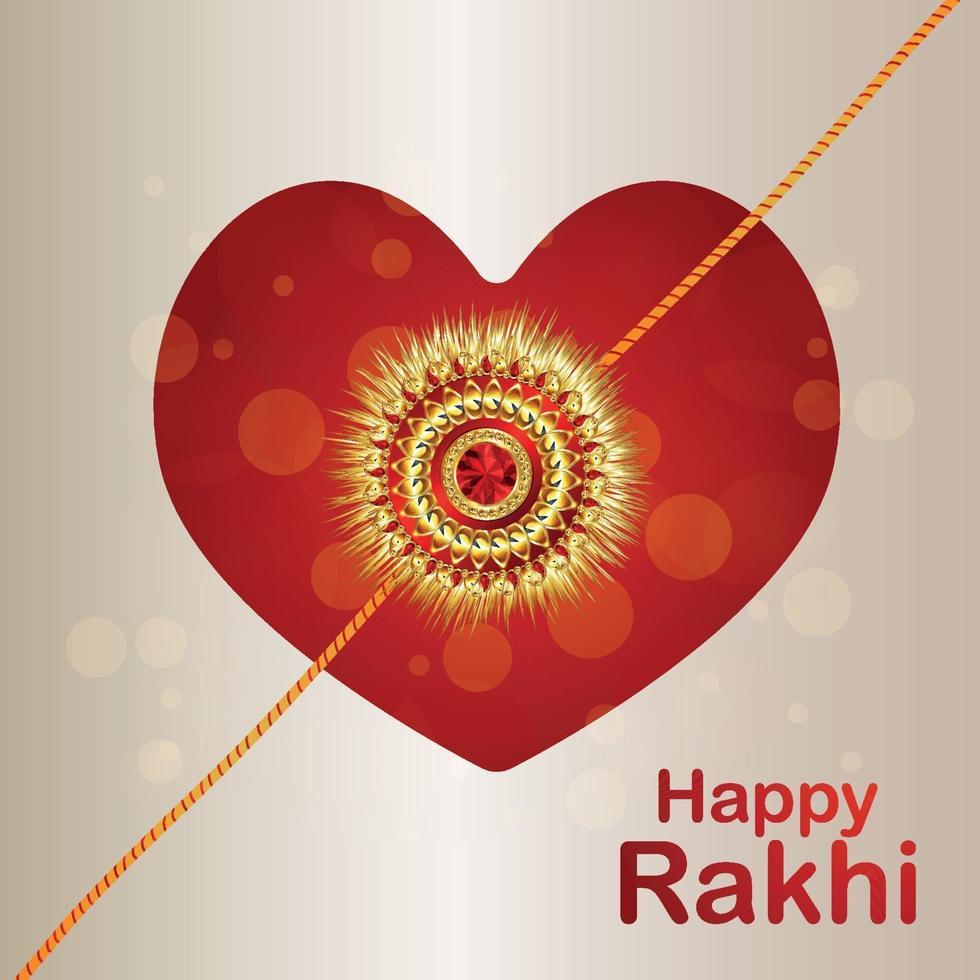 lycklig rakhi inbjudningskort med vektorillustration för glad raksha bandhan vektor