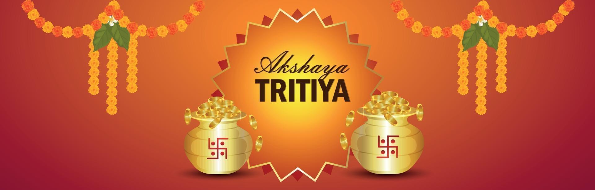 akshaya tritiya firande smycken försäljning banner med kreativa guldmynt vektor