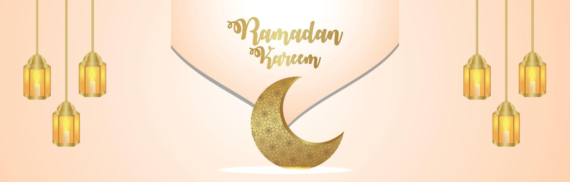 arabiskt mönster måne och lykta av islamisk festival ramadan kareem banner vektor