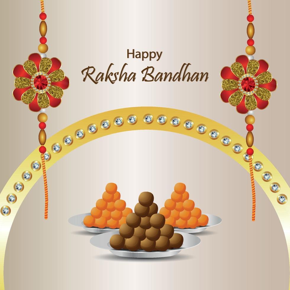 indisk festival av lycklig raksha bandhan firande gratulationskort med kristall rakhi och sött vektor