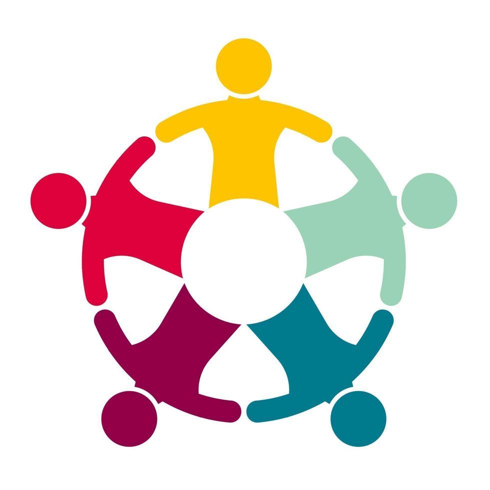 grupp på fem personer i en cirkel. teamwork-möte. människor möts i rummet. vektor