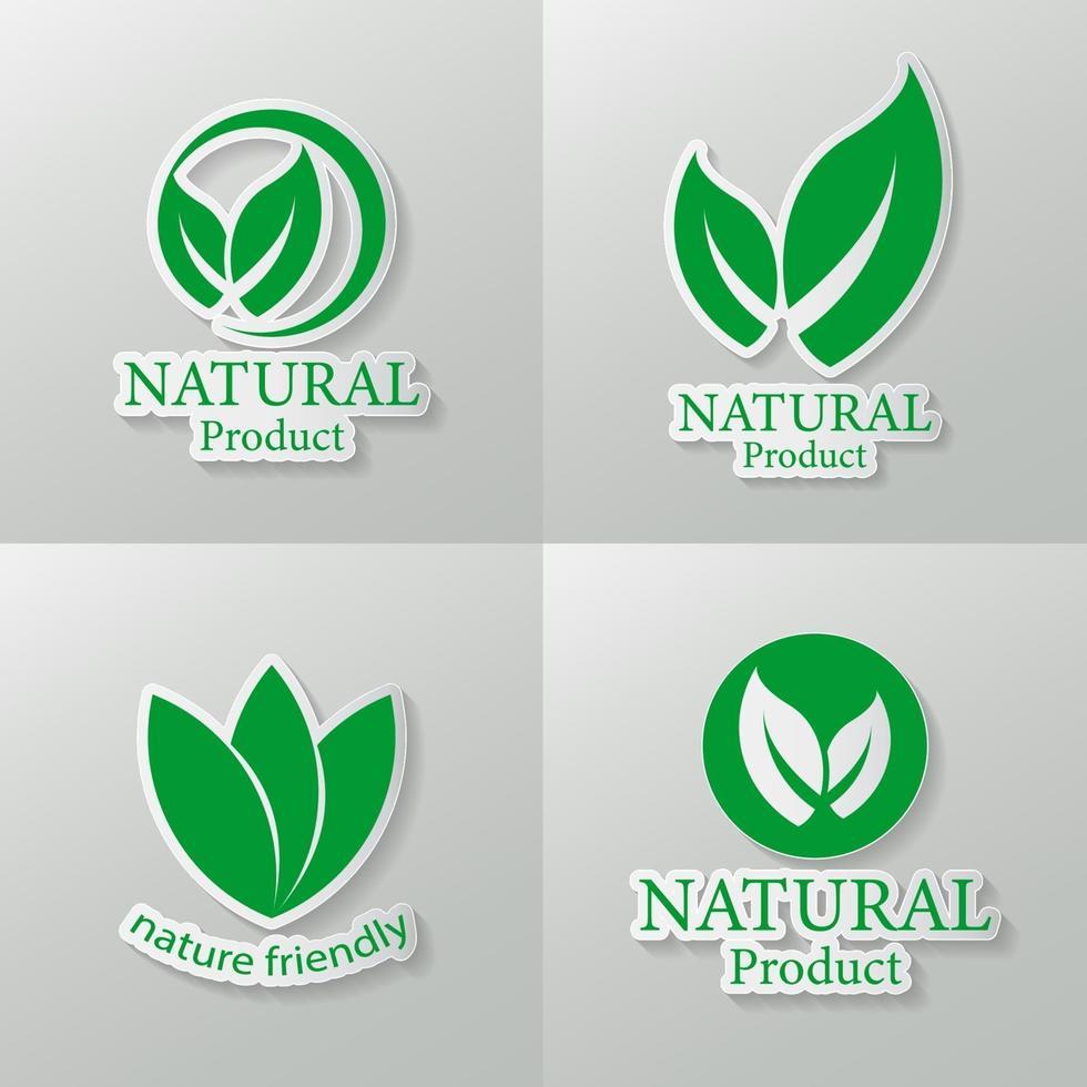 uppsättning naturliga logotyper vektor