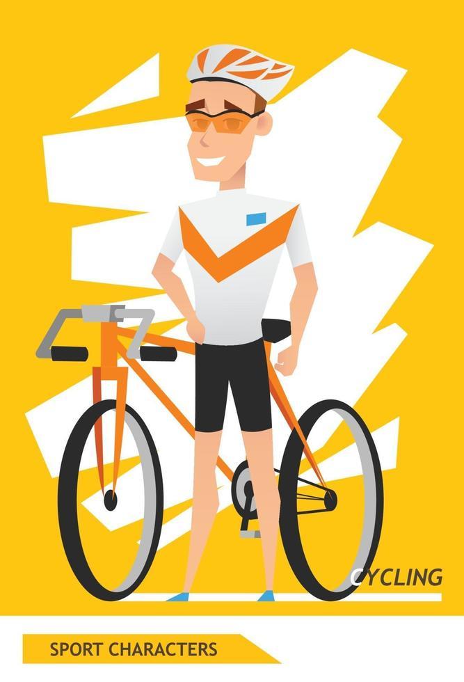 sport karaktärer cykling spelare vektor design