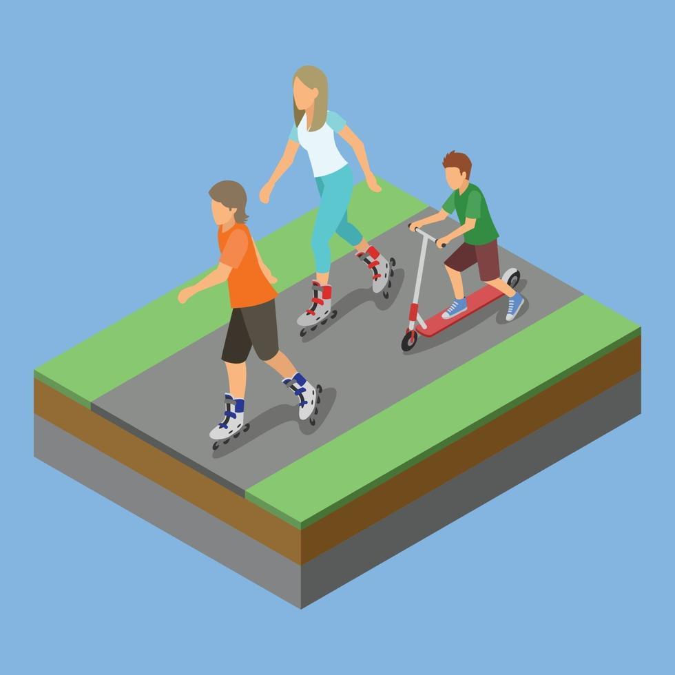 isometrisk parkaktivitet, rullskridskor vektor