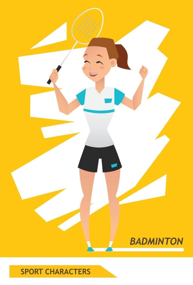 sport karaktärer badmintonspelare vektor design