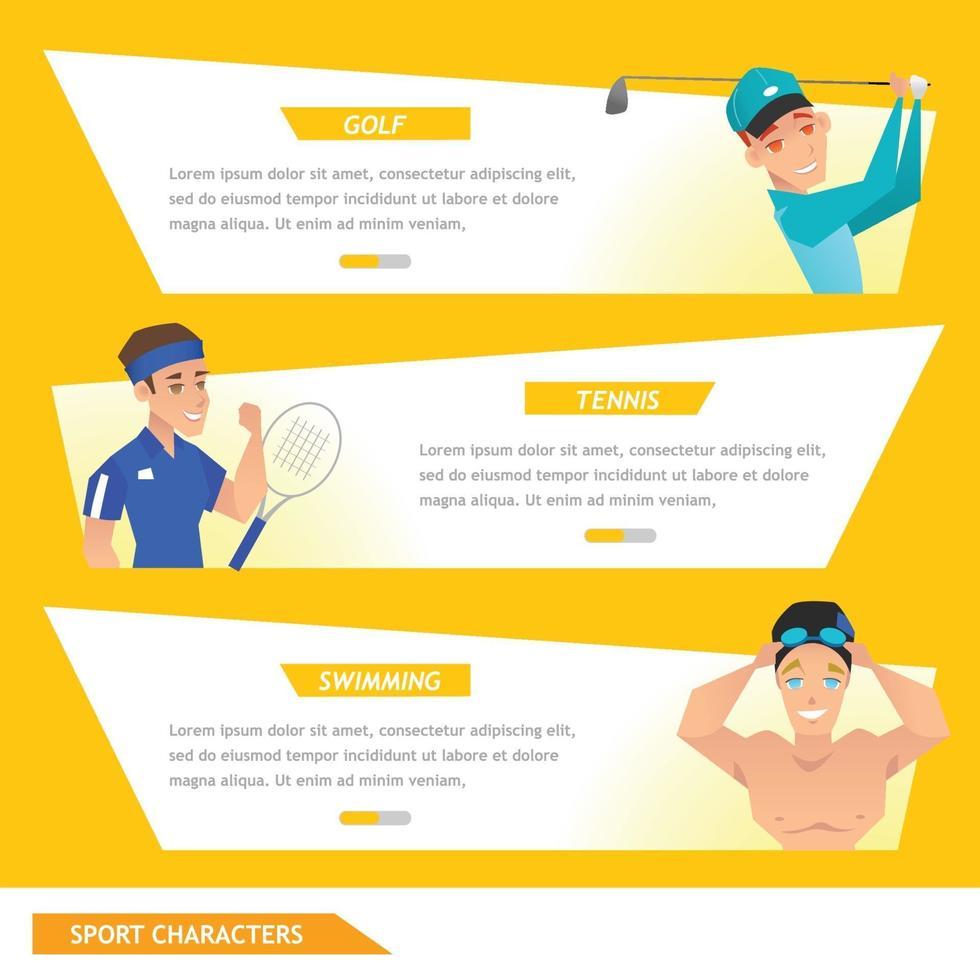 info grafisk sport golf, tennis och simning vektor